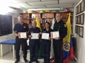 Certificates presented at the end of training.